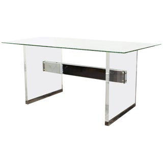 Charles Hollis Jones 1960s Mid Century Modern Lucite and Chrome Base Desk With Bubble Glass Top For Sale