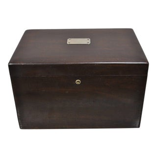 Early 20th Century Antique Mahogany Cigar Humidor For Sale