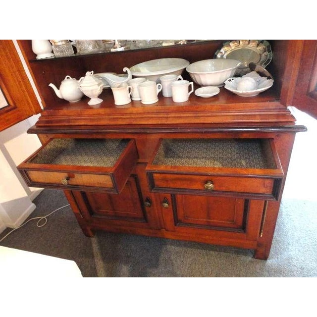 Mid 19th Century Fantastic 19thc Two Piece Walnut Stepback Wall Cupboard For Sale - Image 5 of 9
