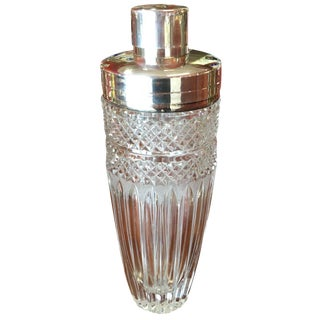Vintage Cut Crystal and Silver Cocktail Shaker