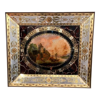 """19th Century French Napoleon III Hand Painted Wall Clock With """"Églomisé"""" Glass For Sale"""