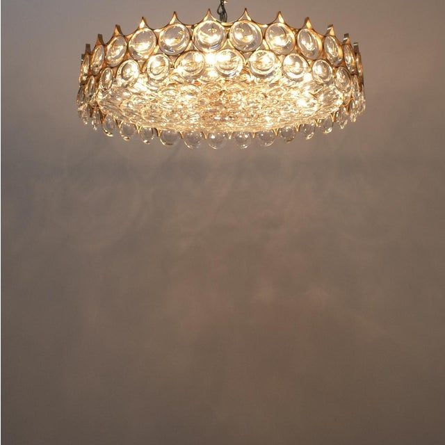 Palwa Xxl Refurbished Gold Plated Brass and Glass Semi Flush Mount Lamp For Sale - Image 9 of 13