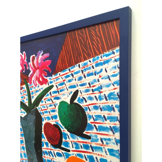 "David Hockney Rare Vintage 1988 Lithograph Print Framed Metropolitan Museum Exhibition Poster "" Still Life With Flowers "" 1987 For Sale - Image 9 of 13"