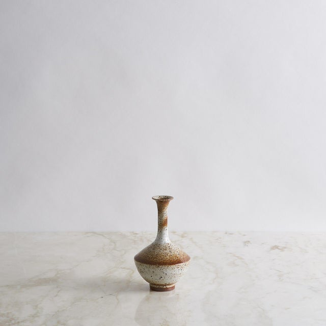 Brown & White Glazed Porcelain Bud Vase For Sale - Image 4 of 4