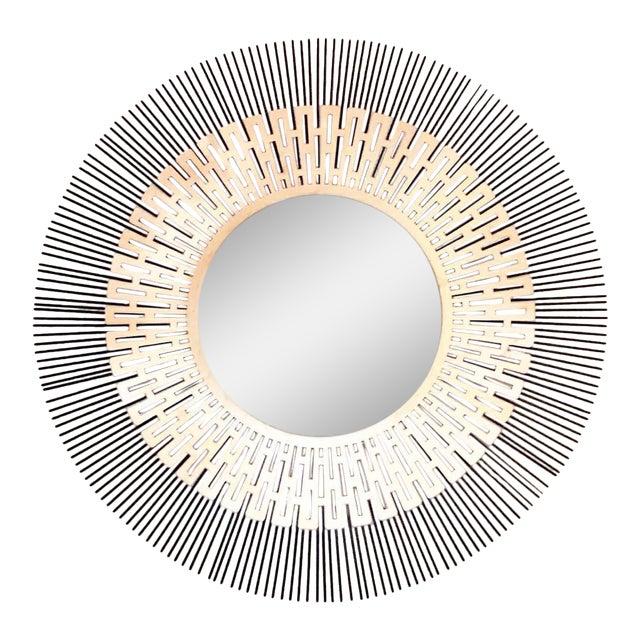 Sunburst Mirror With Greek Key Design For Sale