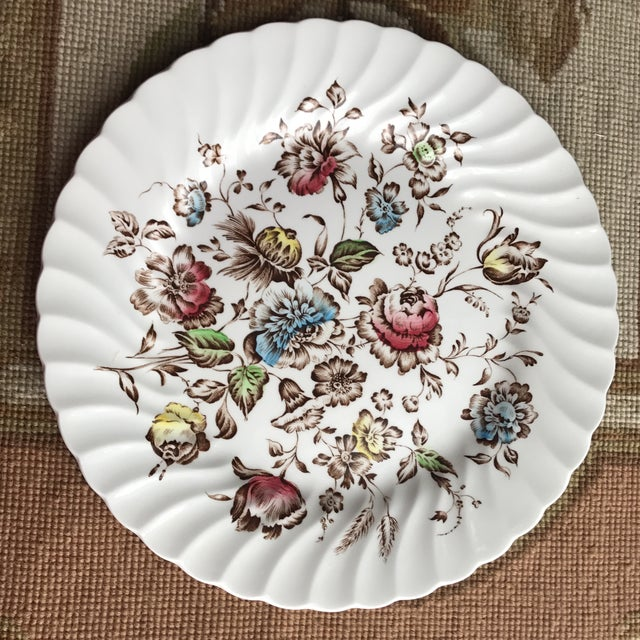 "Set of four 9.75"" ironstone dinner plates in this gorgeous vintage pattern - Staffordshire Bouquet by Johnson Brothers..."