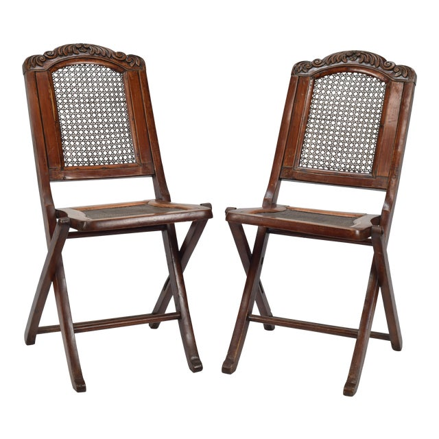cane back seat decorative folding chair a pair chairish