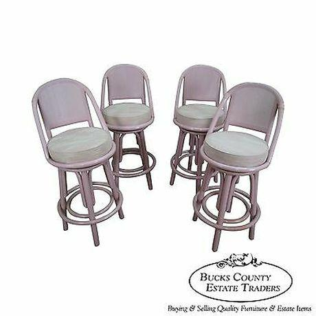 Clark Casuals Vintage Set of 4 Painted Rattan Bar Stools For Sale - Image 13 of 13