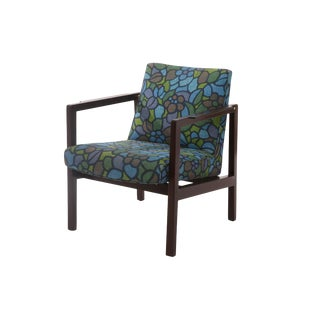 1950s Mid-Century Modern Edward Wormley Mahogany Brass and Upholstered Armchair For Sale