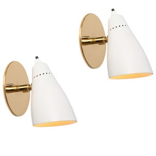 White 1950s Giuseppe Ostuni Articulating Sconces for O-Luce - a Pair For Sale