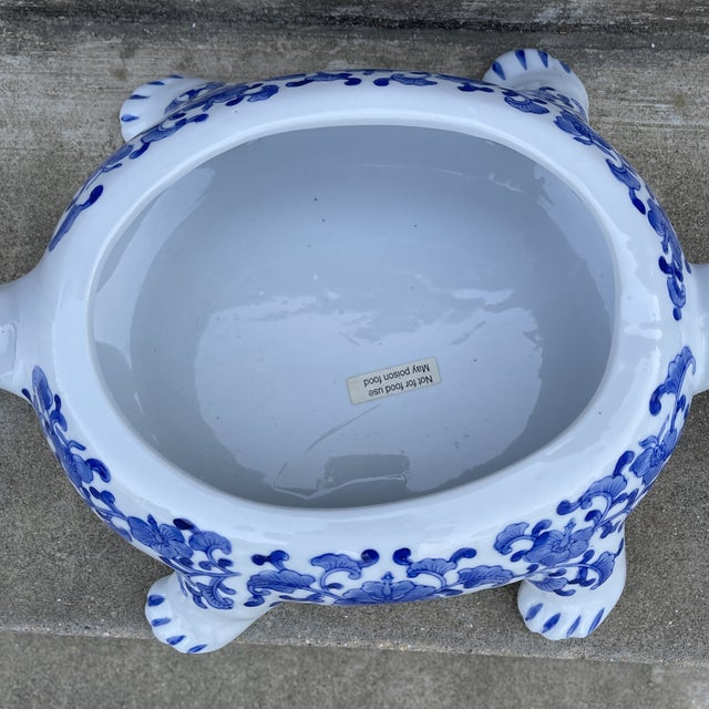 Large Chinese Blue and White Turtle Tureen For Sale In Richmond - Image 6 of 11