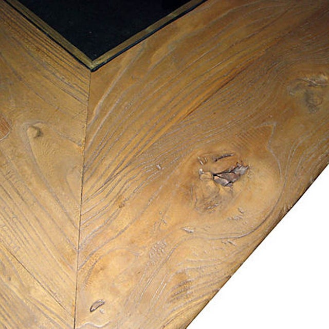 2010s Burlwood Glasstop Dining Table For Sale - Image 5 of 6