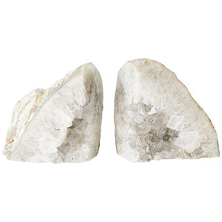 Pair of Large Silver Quartz Crystal Geode Bookends For Sale