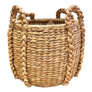 Contemporary Seagrass Fireplace Basket For Sale