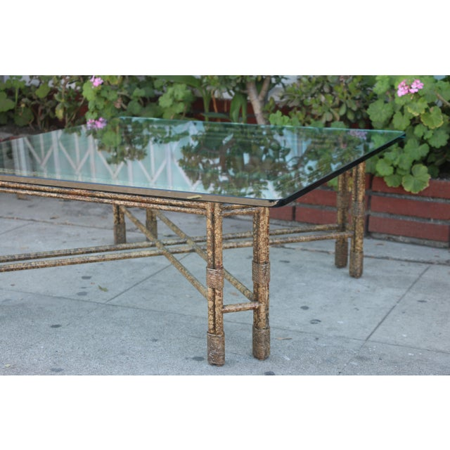 Glass Metal Distressed Rustic Coffee Table For Sale - Image 7 of 10