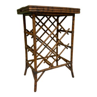 Rattan Wine Rack Tray Table For Sale