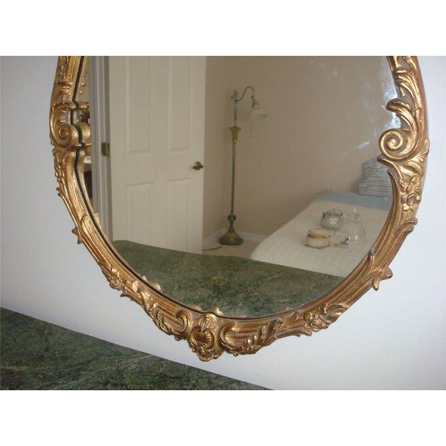 French Style Gold Gilt Wood Hand Painted Wall Mirror For Sale - Image 5 of 10