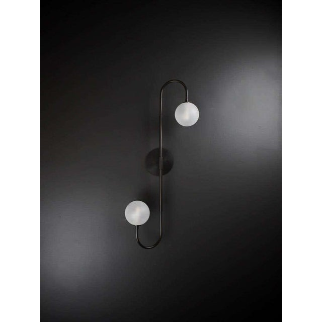 Blueprint Lighting Piega Wall Lamp or Flushmount in Oil-Rubbed Bronze & Glass by Blueprint Lighting For Sale - Image 4 of 8