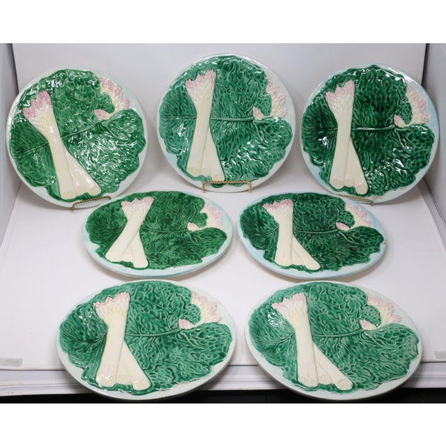 Vintage 1984 Majolica Cabbage and White Asparagus Plates - Set of 7 For Sale - Image 10 of 10