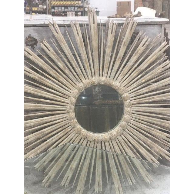 Very large carved wood Sunburst Mirror. All carved wood. Finished in an old world look distressed painted finish. Chippy...