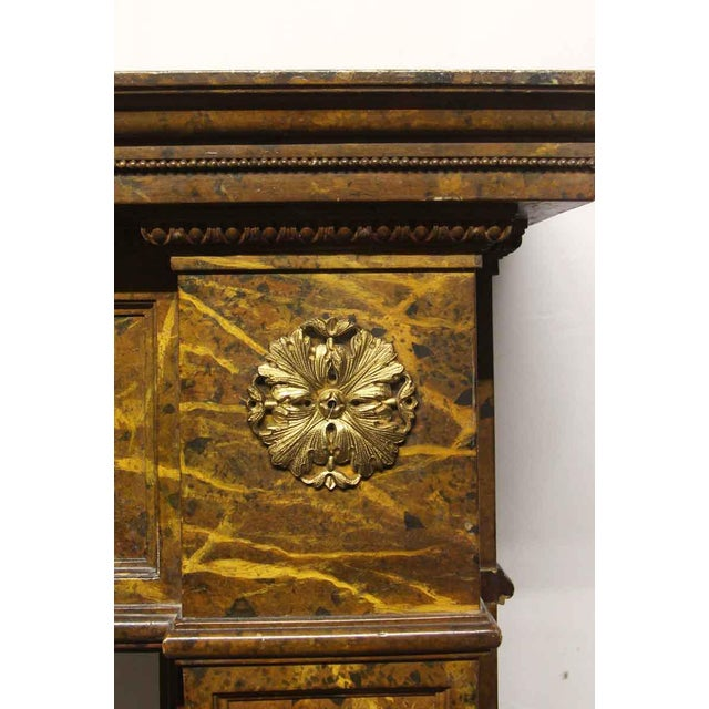 Antique Wooden Regency Mantel With Faux Marble Look For Sale - Image 4 of 10