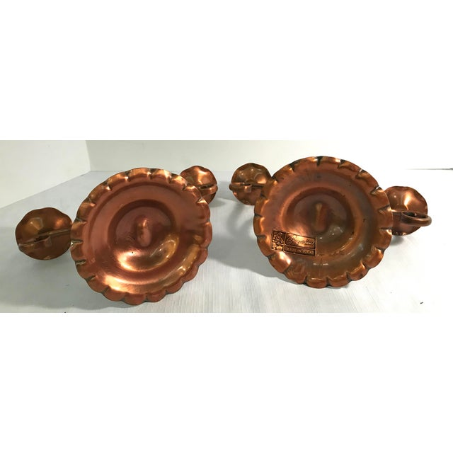 Metal Vintage Gregorian Copper Double Candle Holders - a Pair For Sale - Image 7 of 9