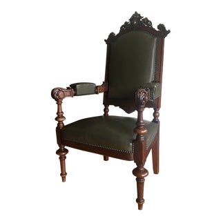 Late 19th Century Carved Oak and Leather Throne Chair For Sale