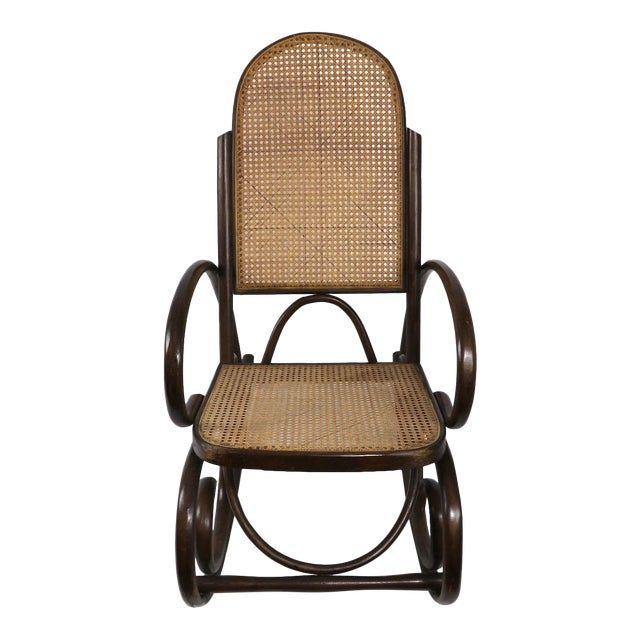 1950s Vintage Thornet Bentwood Rocking Chair For Sale