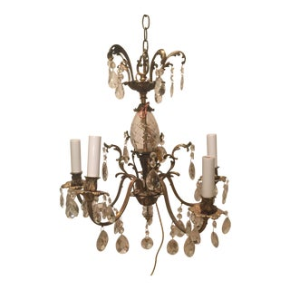 Five Arm Crystal Chandelier Circa 1940 For Sale