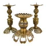 Image of Vintage Turkish / Moroccan Pierced Brass Filigree Candlesticks - Set of 3 For Sale
