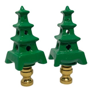 Kelly Green Pagoda Lamp Finials Chinoiserie Home Decor Decorative Lighting Accessories For Sale