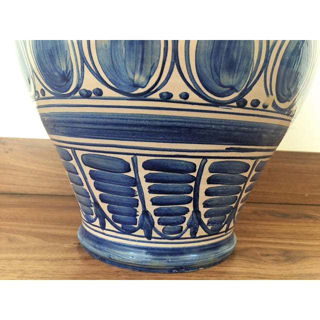 Baroque Striking Continental Glazed Earthenware Blue and White Painted Urn For Sale - Image 3 of 5