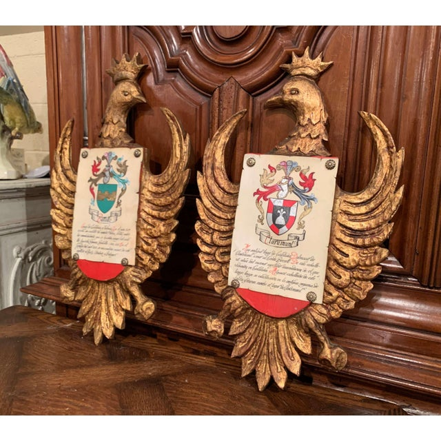 Decorate an office or a study with this colorful pair of antique medieval crests; crafted in Spain circa 1920, each shield...