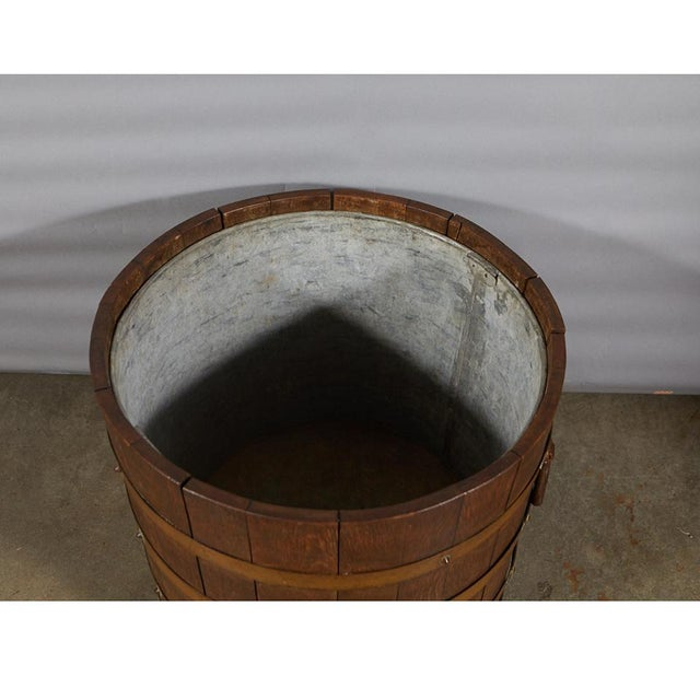 Gold R. A. Lister & Co. Ltd. Oak Bucket With Liner For Sale - Image 8 of 10