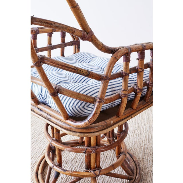 Blue Franco Albini Style Bamboo Rattan Swivel Lounge Chairs For Sale - Image 8 of 13
