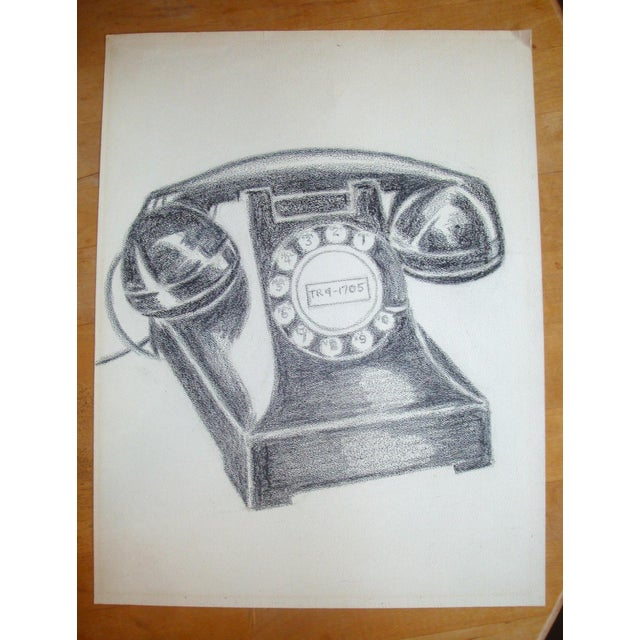Vintage Black Bakelite Telephone Charcoal Drawing For Sale - Image 4 of 4