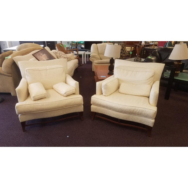 Classic Donghia Victoire Club Chairs - a Pair sold as foun in vintage condition previously used and owned in need of new...