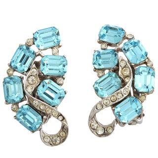 """Blue Topaz"" Clip Earrings For Sale"