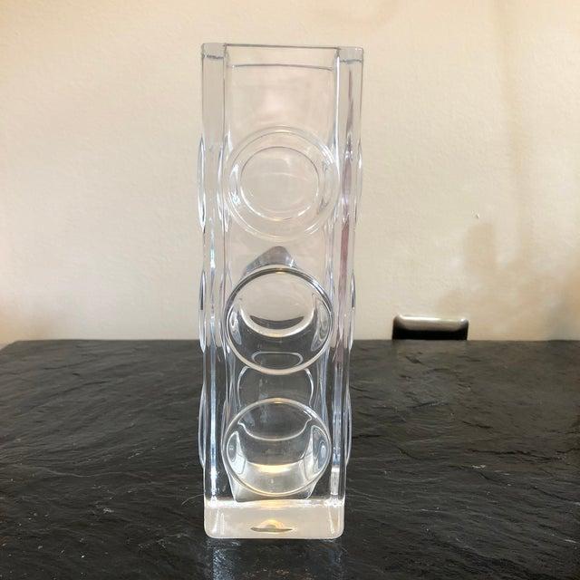 Beautiful Swedish crystal stoplight vase designed by Bengt Edenfalk for Skruf Sweden. Signed on bottom.