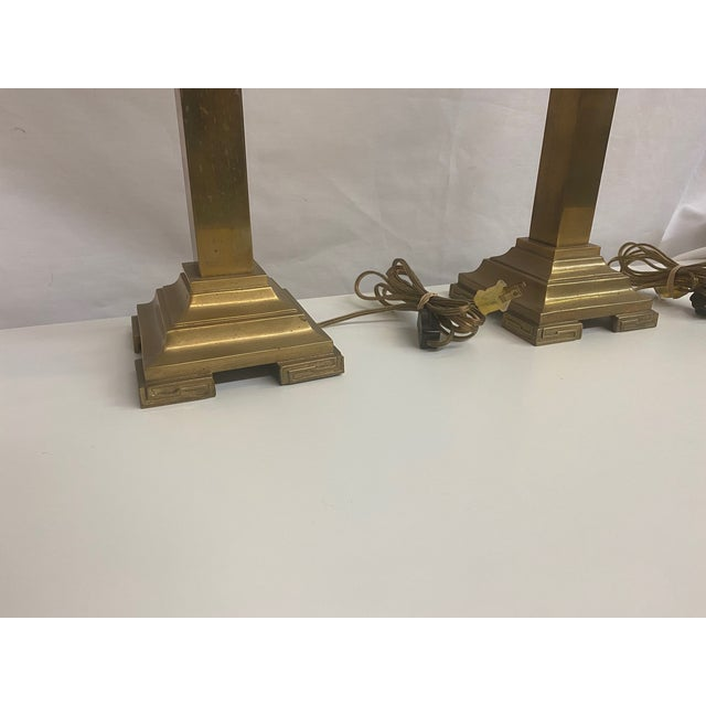 Tall Solid Brass Table Lamps - a Pair For Sale - Image 4 of 6