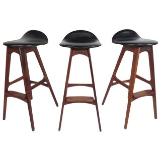 Exquisite Set of Three Mid-Century Erik Buch Bar Stools For Sale
