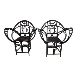 McGuire Black Butterfly Chairs - a Pair
