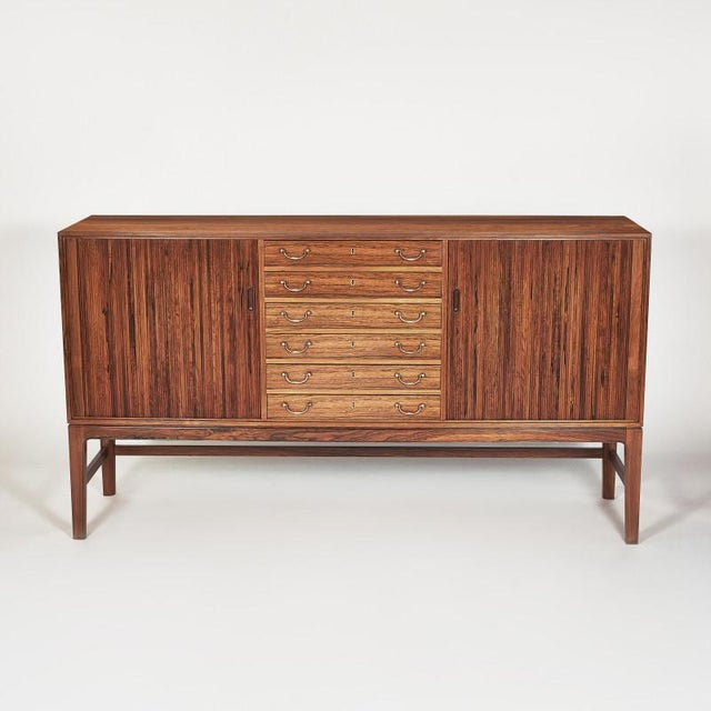 Brown Danish Ole Wanscher Tambour Cabinet, 1960s For Sale - Image 8 of 8