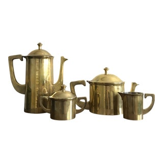 Vintage Mid-Century Modern Chinoiserie Style Indian Brass Tea, Coffee, Sugar, and Creamer Set - 4 Piece Set For Sale