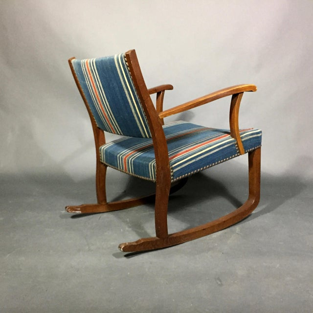 1940s Danish Rocking Chair, Oak and Wool Stripe For Sale - Image 9 of 12