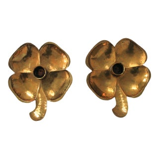 4 Leaf Clover Brass Candle Holders - a Pair For Sale