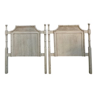 Vintage Mid-Century Chinoiserie Faux Bois and Bamboo Cane Pagoda Twin Headboards - A Pair For Sale