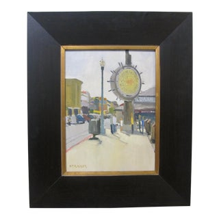 Modern Fisherman's Wharf San Francisco Oil Painting Signed Paul Strahm For Sale