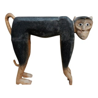 Carved Bonnet Macaque Monkey Sculpture