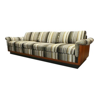 Mid Century Boho Modern Walnut Milo Baughman Style Sofa For Sale